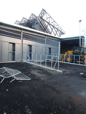 September 2016 - Barriers erected at far North Stand entrance.